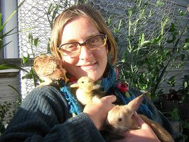 Novella Carpenter, 2009 with baby farm animals