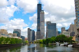 Chicago's skyline over the Chicago River. Photo by Phil Hospod.