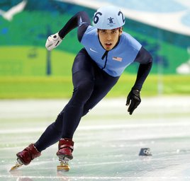 Apolo Anton Ohno of the United States skates during the men's 1000 meter short track speed skating semifinal at the 2010 Winter Olympics. (United Press International)
