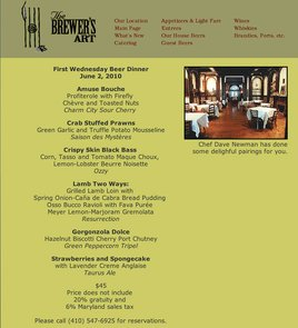 The Brewer's Art First Wednesday Menu June 2, 2010