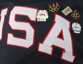 USA Hockey Jersey with Pins Photo/M. Payne