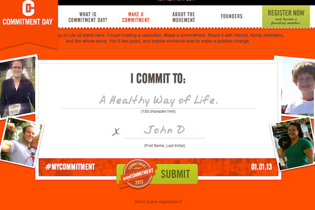 Commitment Day challenges people in 30 cities and 22 states to make a commitment to their own health in 2013.