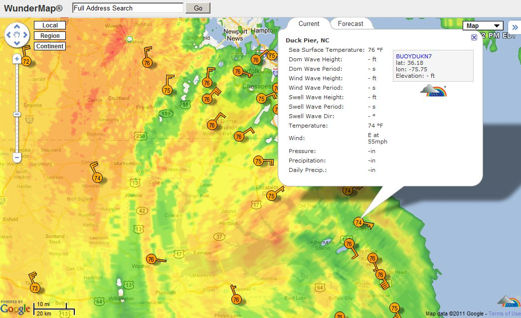 Wind speed map of area affected by Hurricane Irene August 27, 2011 at 1530 EDT courtesy of Weather Underground.