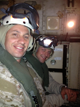 Matt Hendricks (right) called landing on an aircraft carrier in Bahrain one of his favorite parts of the USO Tour he went on. (Photo courtesy Matt Hendricks)