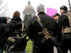 Members of a Yakima, Wash., weapons seller carry firearms Saturday to a Second Amendment rally in the state capital. (Seattle Times via Associated Press)