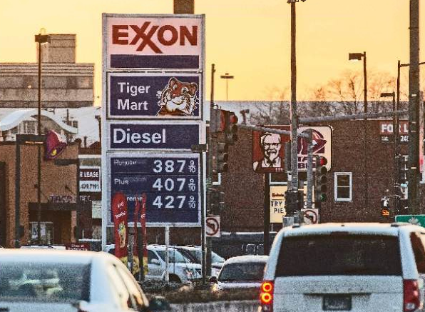 Gas prices at an Exxon Mobil station at New York Avenue and Bladensburg Road in Northeast Washington and elsewhere rapidly continue their upward march. (Andrew S. Geraci/The Washington Times)