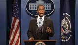 "President Obama is impersonated by actor tor Jay Pharoah on NBC's ""Saturday Night Live"" talking about the impact of the sequester, March 2, 2013."