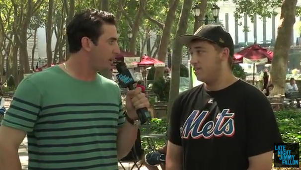 "Mets pitcher Matt Harvey asks New Yorkers about Matt Harvey in this screen shot from NBC's ""Late Night with Jimmy Fallon."""