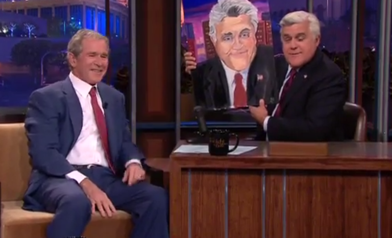 "** FILE ** A screen shot of former President George W. Bush appearing on NBC's ""Tonight"" show with host Jay Leno."