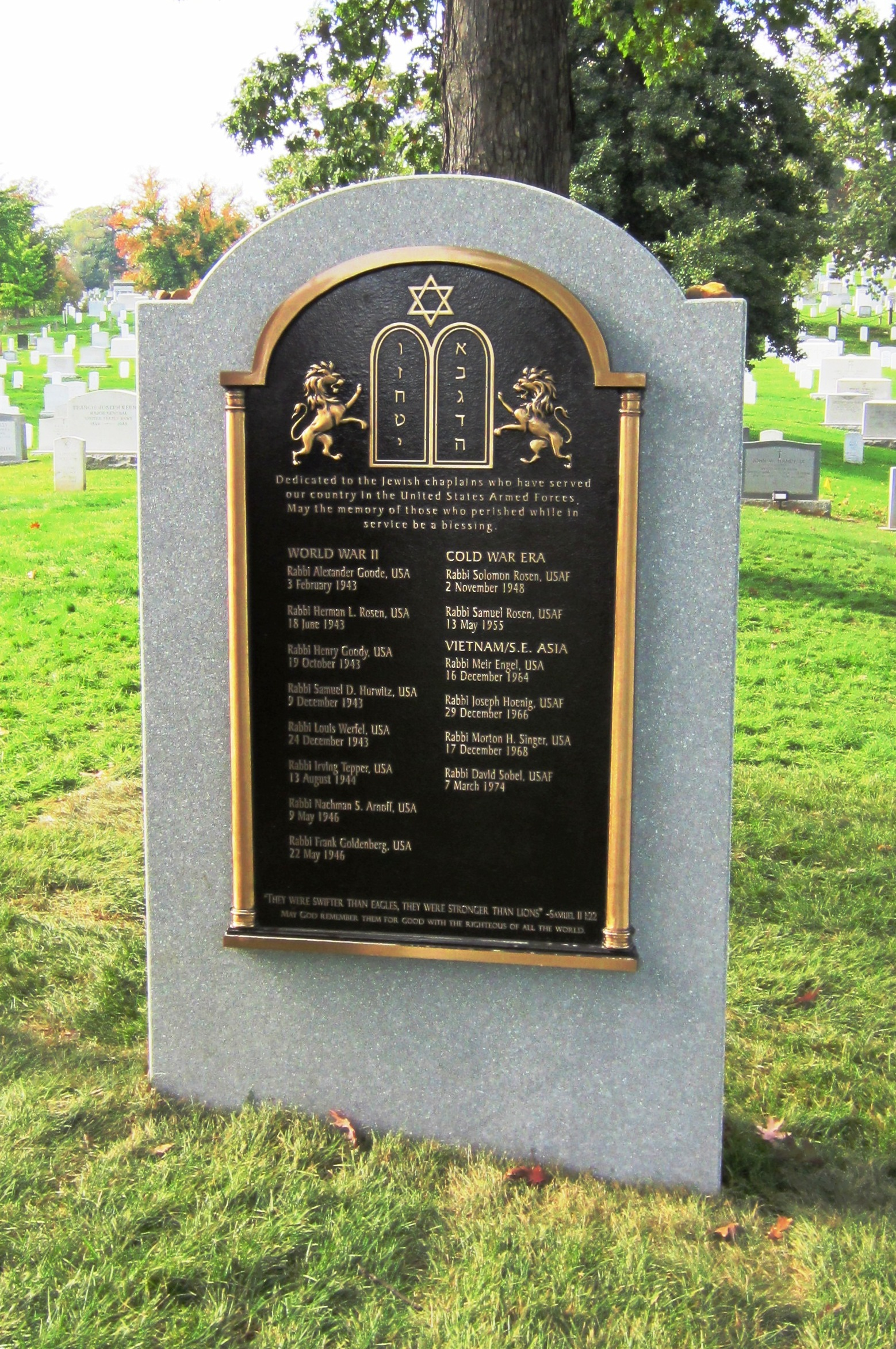 Jewish Chaplains' Monument at Arlington National Cemetery