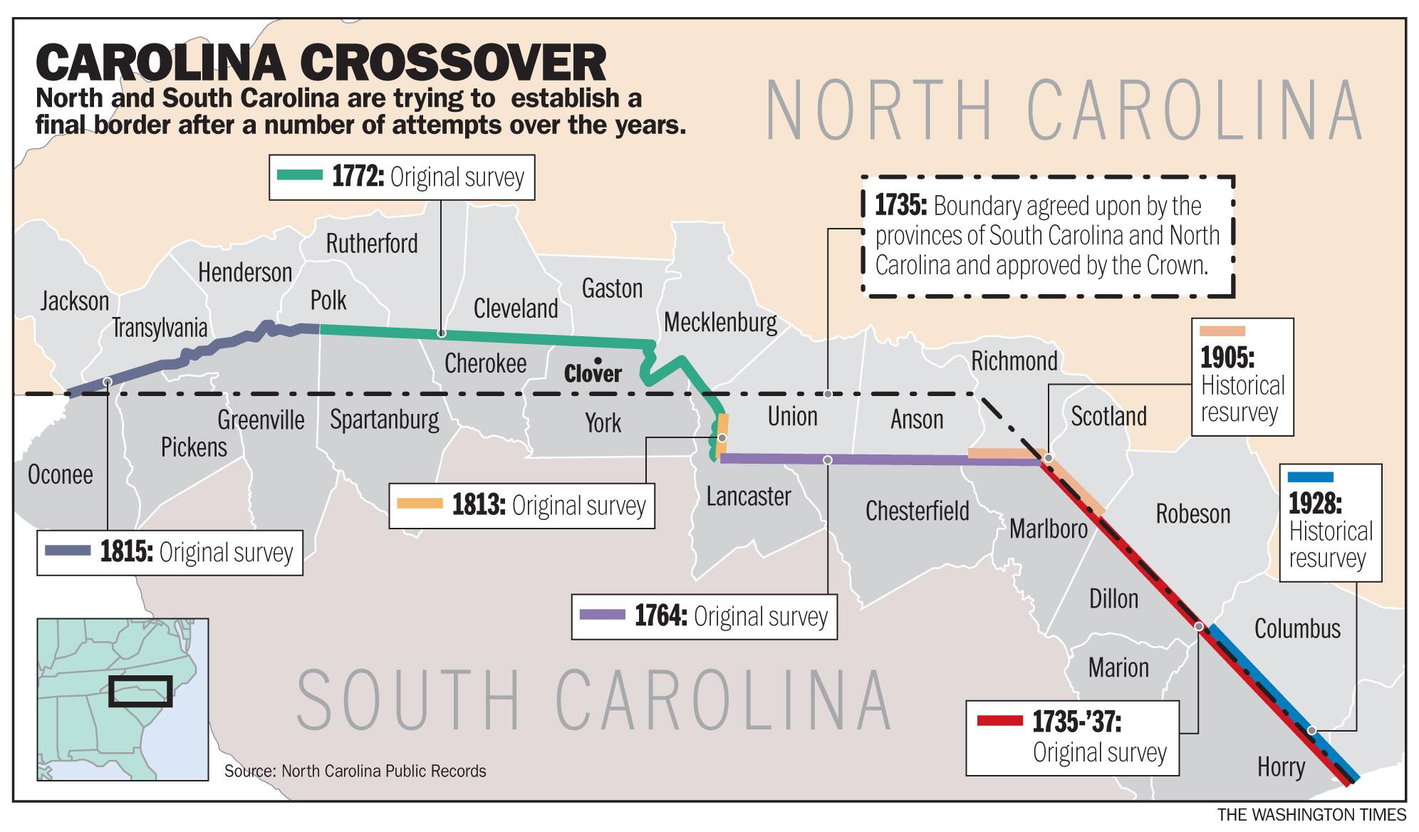 Carolinas Plot Border Doover With Dueling Surveys Washington Times - Map of nc and sc