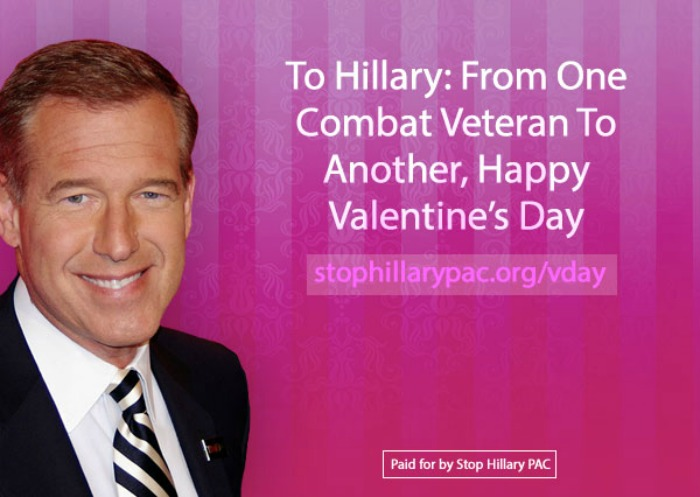 Valentines Day card mocks Hillary Clinton Brian Williams From – To from Valentine Cards
