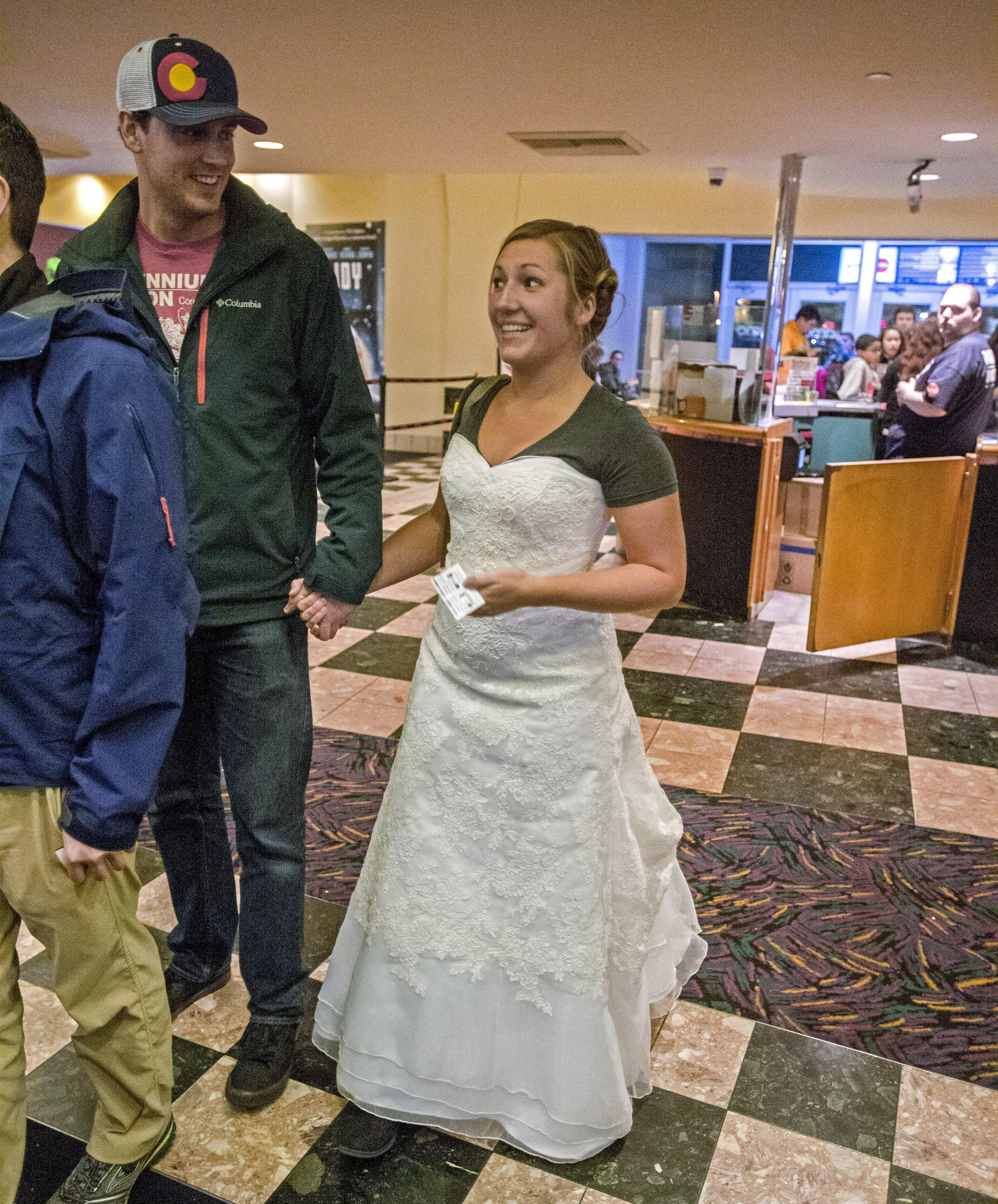 Woman watches \'Star Wars\' in wedding dress for worthy cause ...