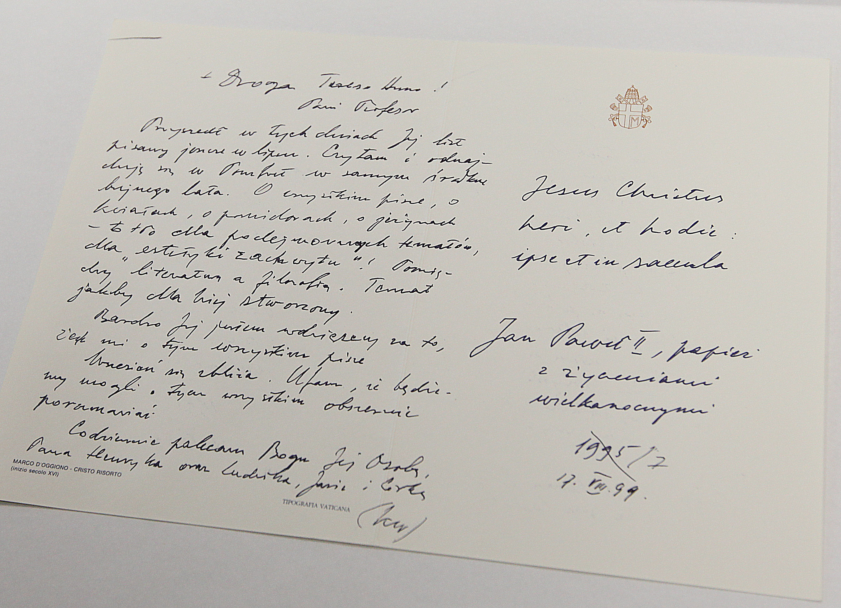 Letters between John Paul II and a woman Not so secret actually