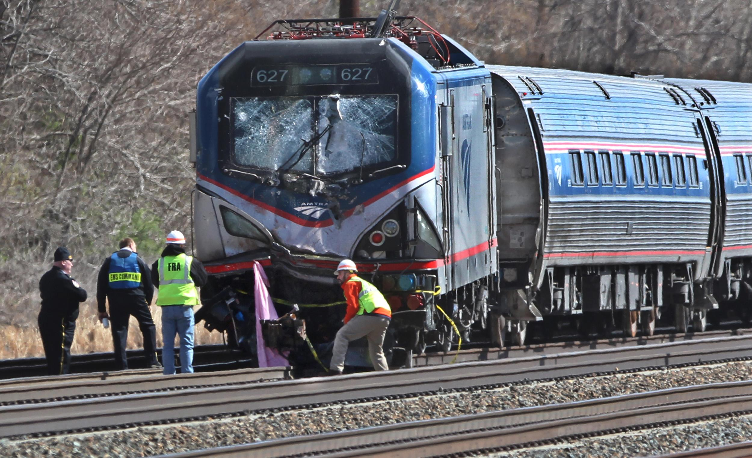 Amtrak Train Hits Equipment On Track 2 Workers Die Washington Times