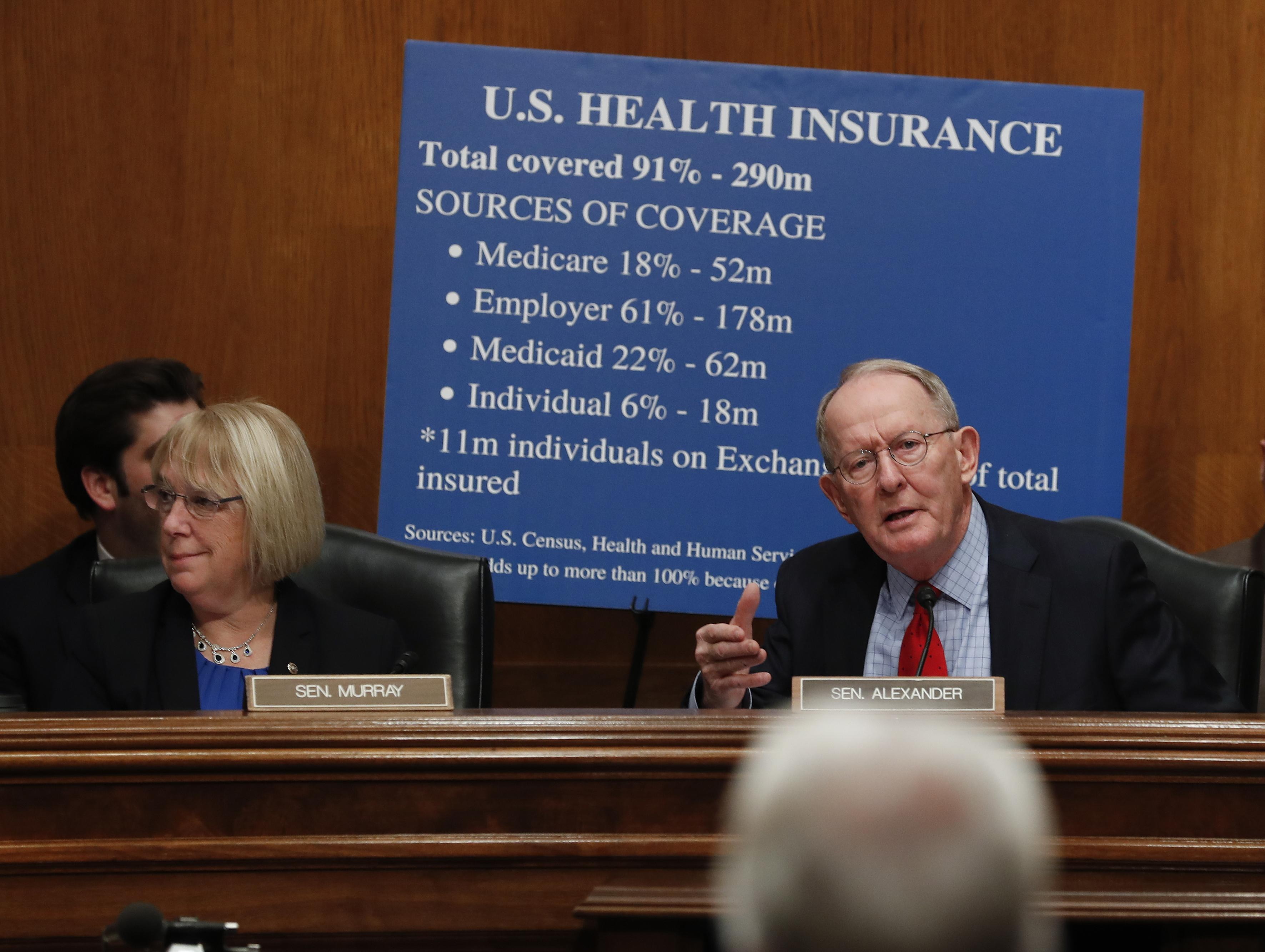 Image result for PHOTOS OF LAMAR ALEXANDER AND PATTY MURRAYS PRESS CONFERENCE