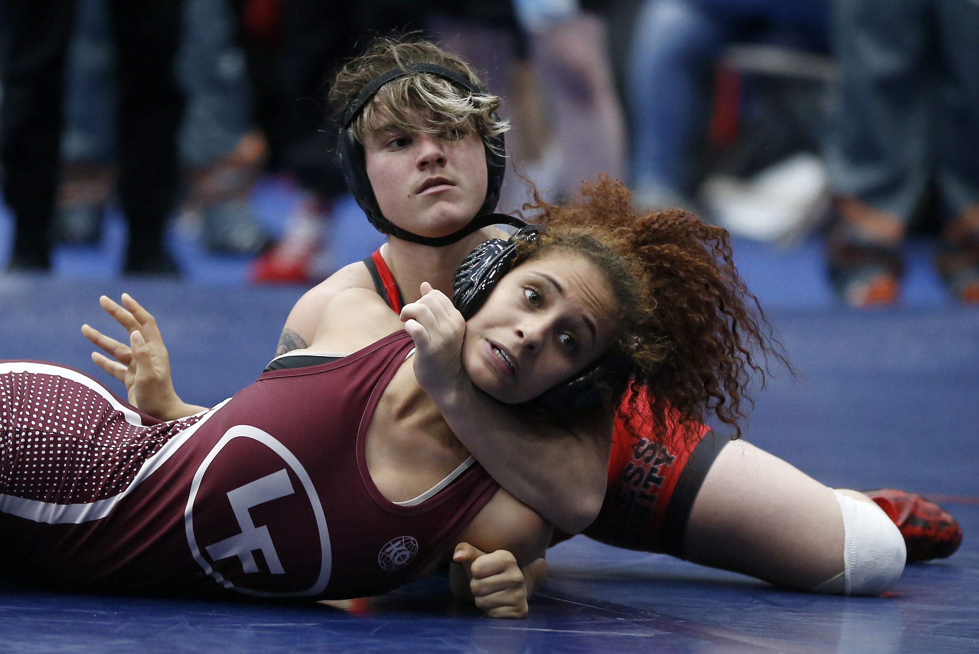 Wrestling teen male vs female