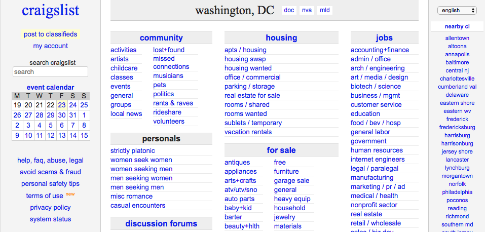 Craigslist closes personals sections in U S , cites bill in