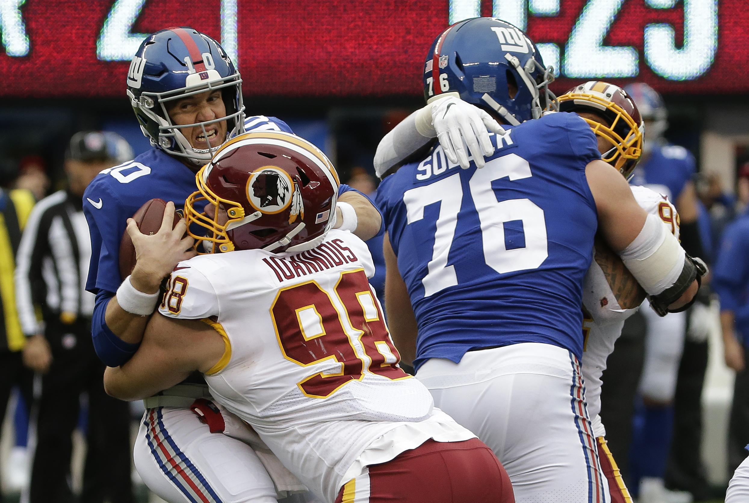 Matt Ioannidis returns, Josh Doctson active vs. Giants