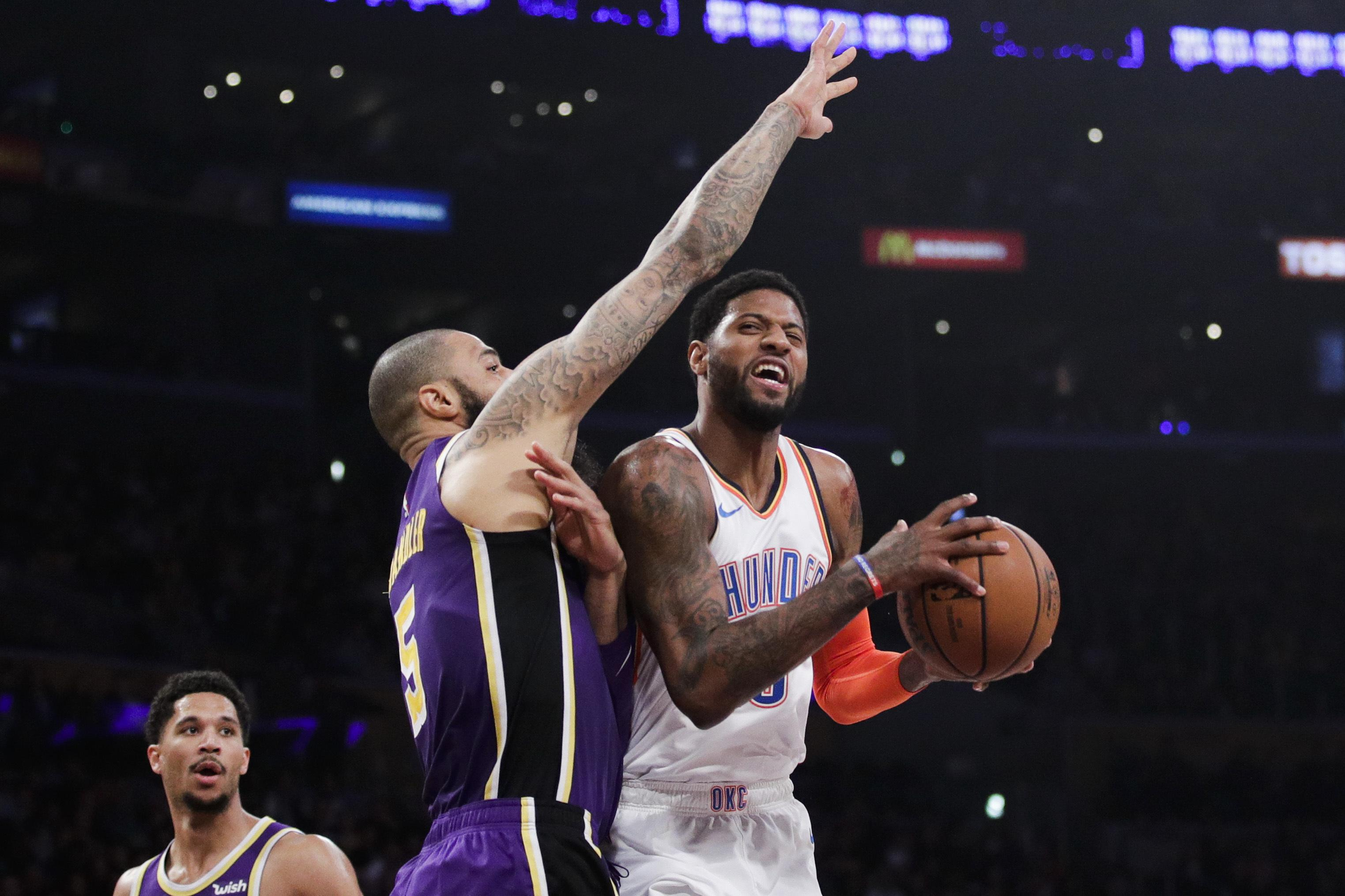 timeless design a274a 4249f Paul George gets 37 amid boos in OKC s 107-100 win at Lakers