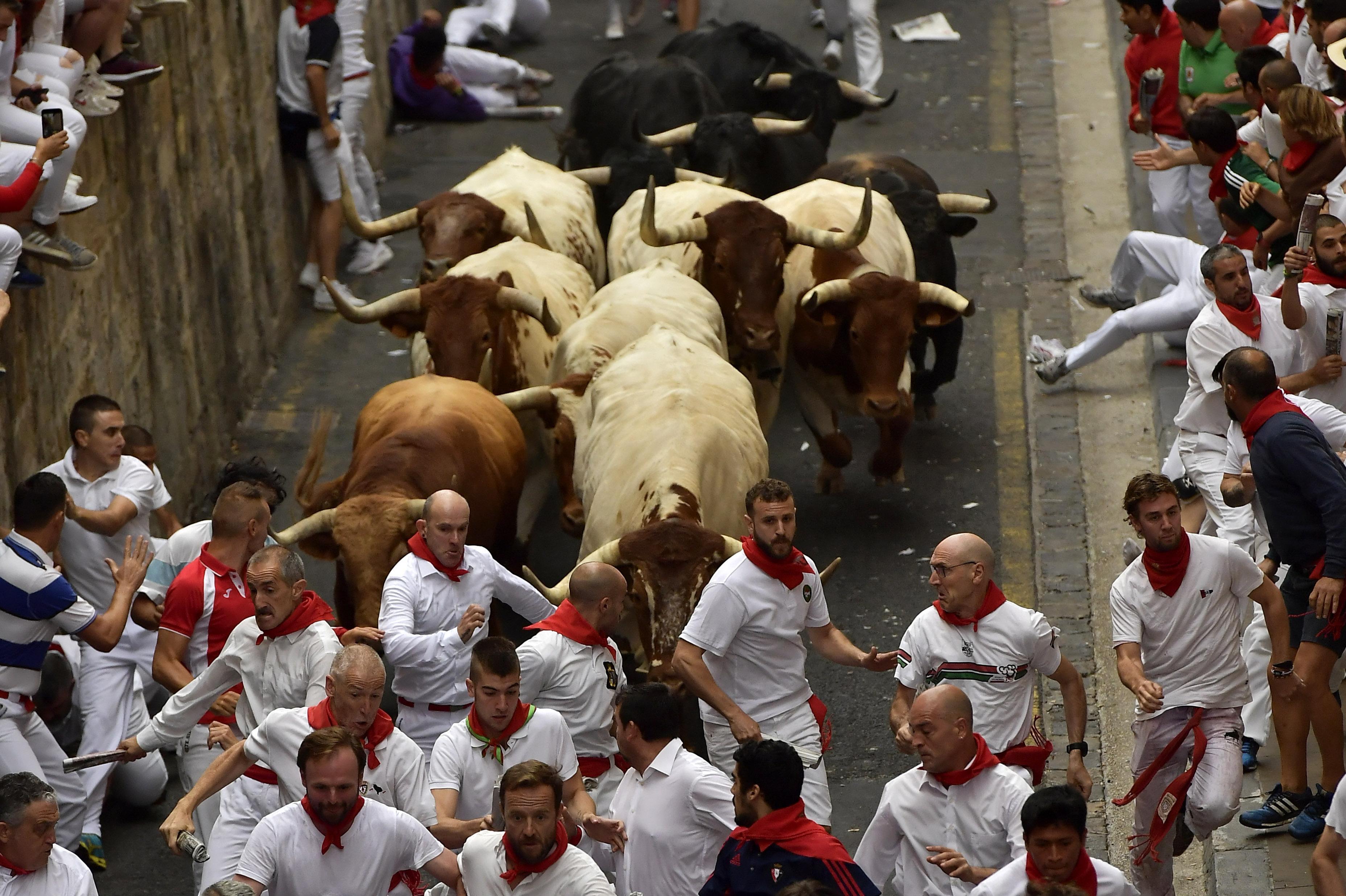 Aaron Froelicher gored during running of the bulls