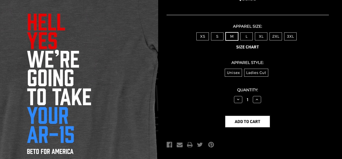 Beto O'Rourke selling T-shirts: 'HELL YES WE'RE GOING TO TAKE YOUR AR-15'