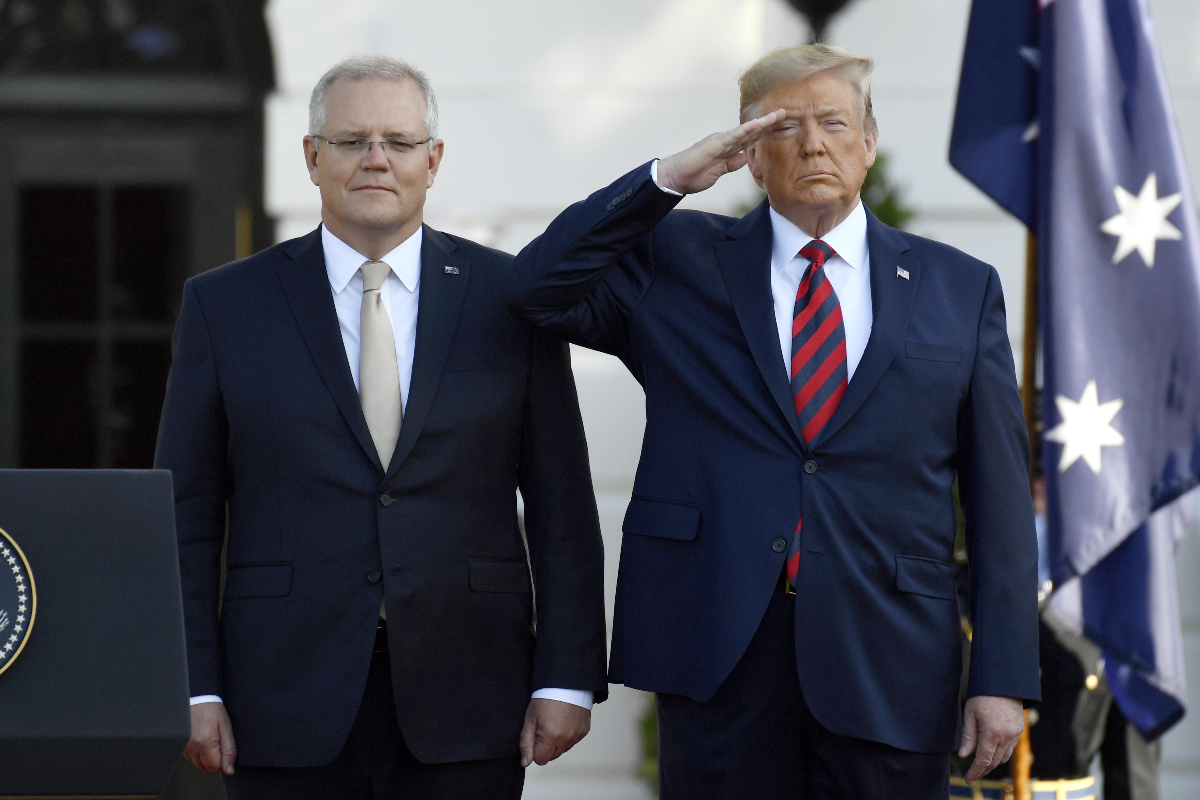 Donald Trump welcomes Scott Morrison, Australian prime minister, for official state visit