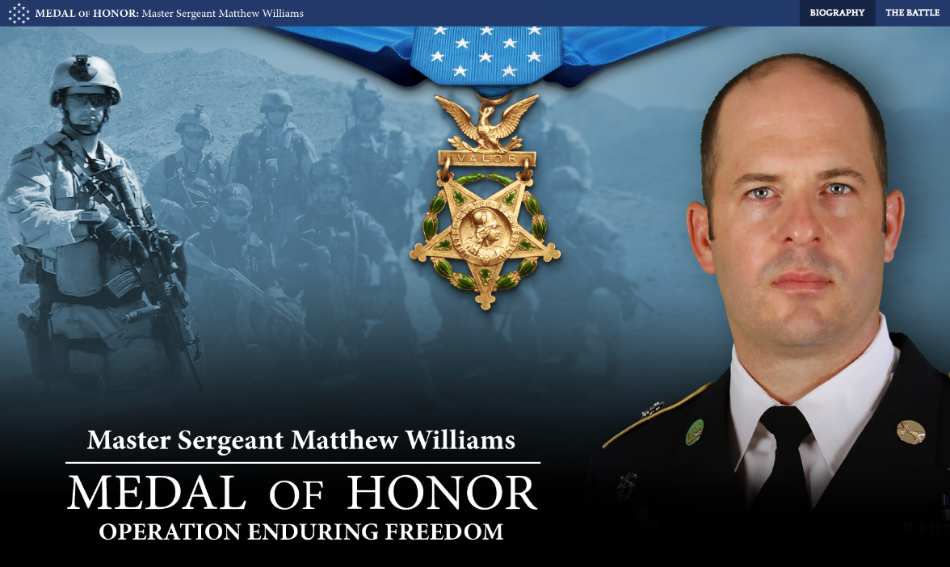 Matthew O. Williams, Green Beret, to be receive Medal of Honor for rescuing comrades in Afghanistan